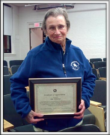 Ida with her certificate of recognition from the Brookline Bird Club, October 12, 2007.